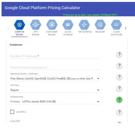Google Cloud Costs Calculator