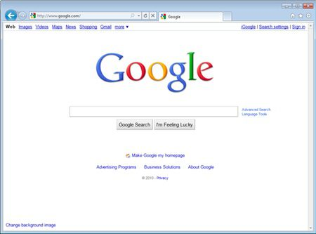 IE9's streamlined interface.