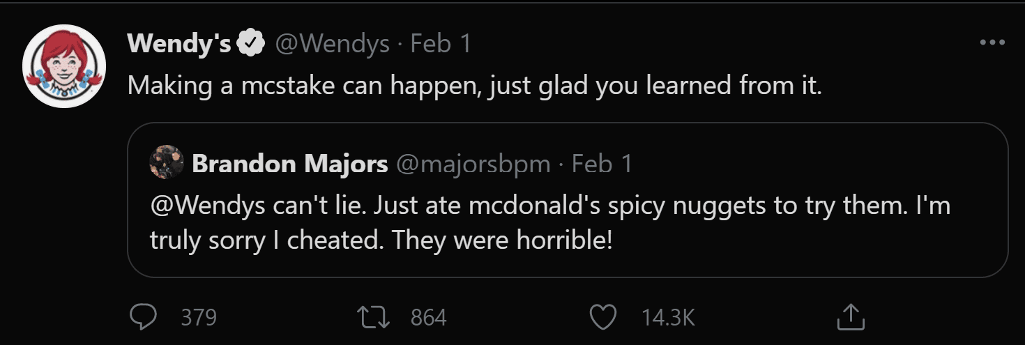 Wendy's uses Twitter to sarcastically engage with customers as a form of digital transformation.