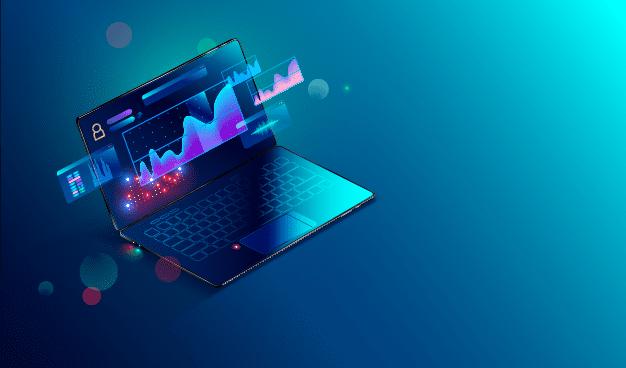 Data visualization on a laptop computer.