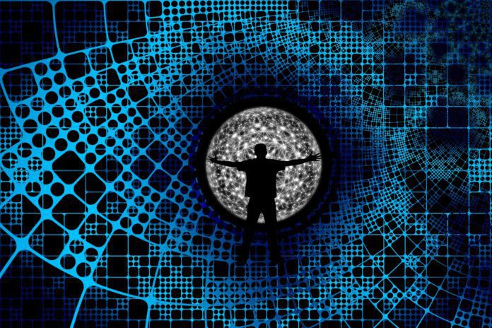 A virtual person embraces a network of data.