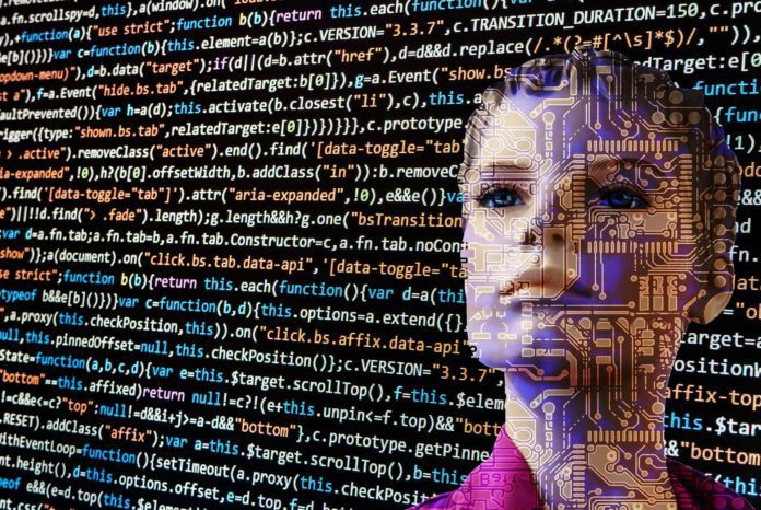 Using data annotation on raw data to train artificial intelligence and machine learning tools. This image represents an AI looking at text data.