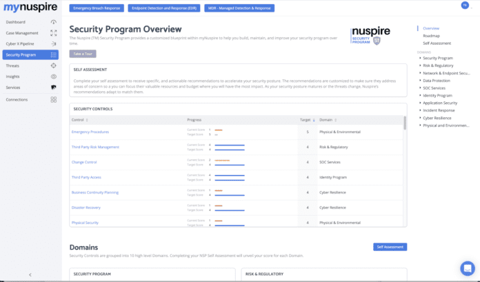 screenshot of the security program user interface in the myNuspire cybersecurity platform by Nuspire.